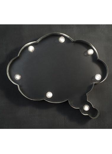 Warm Design LED Tahta Fikir Bulutu Duvar Tabelası Siyah